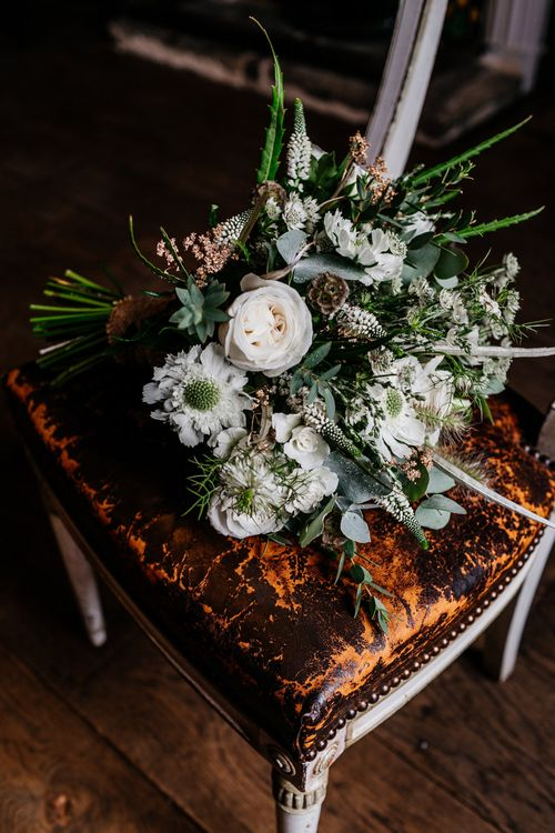 White & Green Wedding Bouquet | Quirky Pub Wedding at The Bell in Ticehurst East Sussex | Epic Love Story Photography