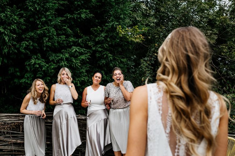 Bridal Party First Look | Quirky Pub Wedding at The Bell in Ticehurst East Sussex | Epic Love Story Photography