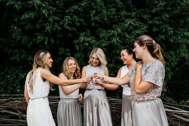 Bridal Party | Bridesmaids in Silver Skirts & Sequin Tops | Bride in Charlie Brear Gown | Quirky Pub Wedding at The Bell in Ticehurst East Sussex | Epic Love Story Photography