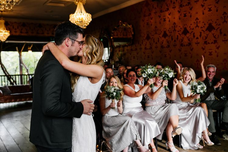 Wedding Ceremony | Bride in Charlie Brear Delancey Gown & Belt | Groom in Hugo Boss Suit | Quirky Pub Wedding at The Bell in Ticehurst East Sussex | Epic Love Story Photography