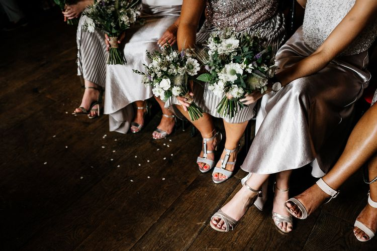 Wedding Ceremony | Bridesmaids in Metallic Skirts & Sequin Top Separates | Quirky Pub Wedding at The Bell in Ticehurst East Sussex | Epic Love Story Photography