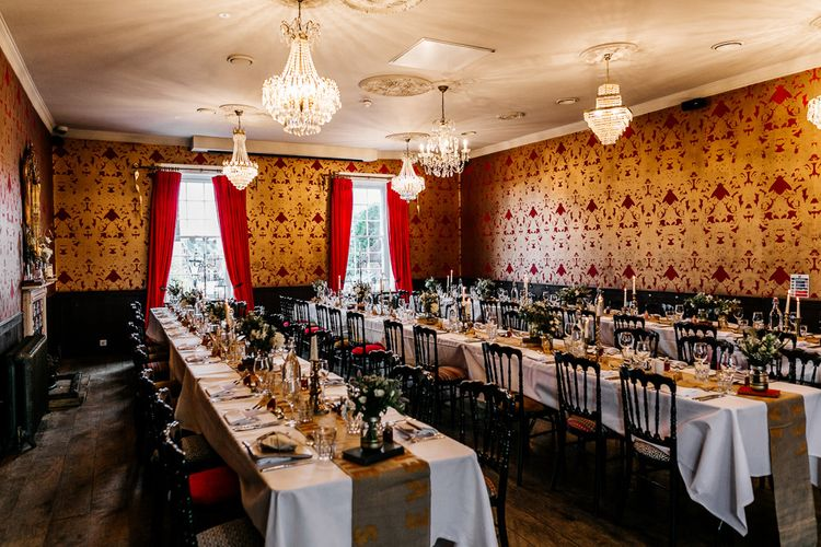 Wedding Reception Room | Quirky Pub Wedding at The Bell in Ticehurst East Sussex | Epic Love Story Photography
