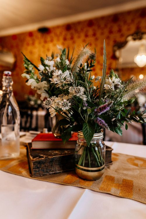 Wild Flowers in Jars Wedding Flowers | Quirky Pub Wedding at The Bell in Ticehurst East Sussex | Epic Love Story Photography