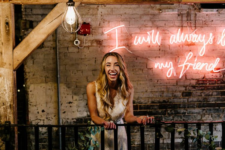 Neon Light Sign | Bride in Charlie Brear Delancey Gown & Belt | Quirky Pub Wedding at The Bell in Ticehurst East Sussex | Epic Love Story Photography
