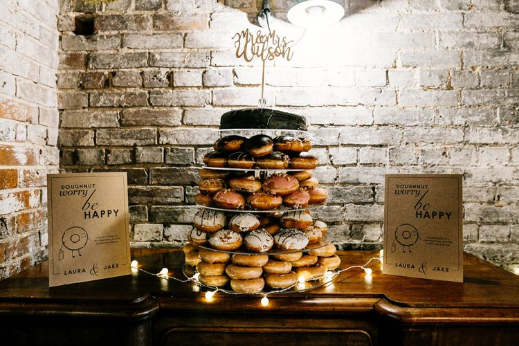 Krispy Kreme Doughnut Tower Wedding Cake | Quirky Pub Wedding at The Bell in Ticehurst East Sussex | Epic Love Story Photography