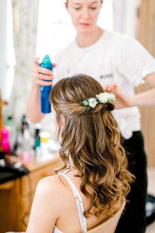 Wavy Half Up Half Down Wedding Hair with Fresh Flowers