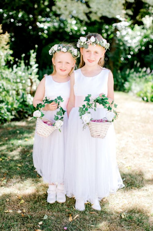 Flower Girls with Flower Crowns and Baskets