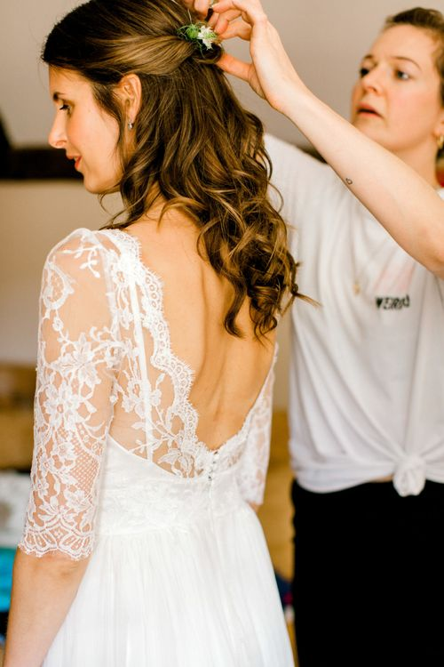 Dana Bolton Wedding Dress with Lace Bodice and 3/4 Sleeves