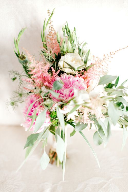 Pink, White and Green Summer Bridal Bouquet