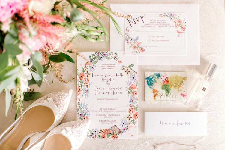 Pastel Wedding Stationery Suite with Bridal Shoes and Bouquet