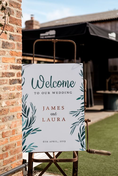 Wedding Welcome Sign with Foliage Illustration
