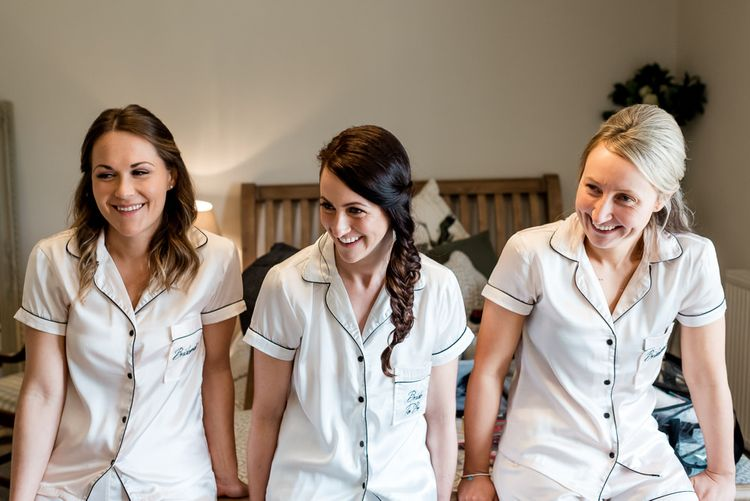 Bridal Party in Matching Getting Ready Pyjamas