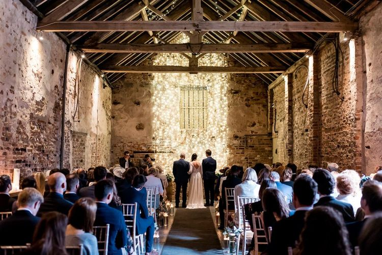 Wedding Ceremony at The Normans with Fairy Light Altar