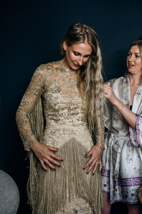 Bespoke Gold Fringe Bride Dress with lace Detail