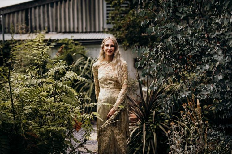 Bride in Gold Wedding Dress
