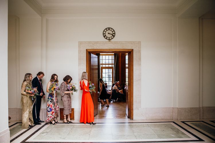 Bridal Party Waiting To Enter Town Hall Ceremony