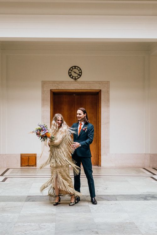 Bride and Groom Dance During Ceremony