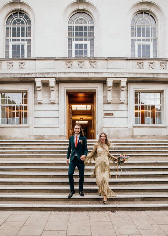 Bride and Groom Outside Town Hall Wedding Ceremony
