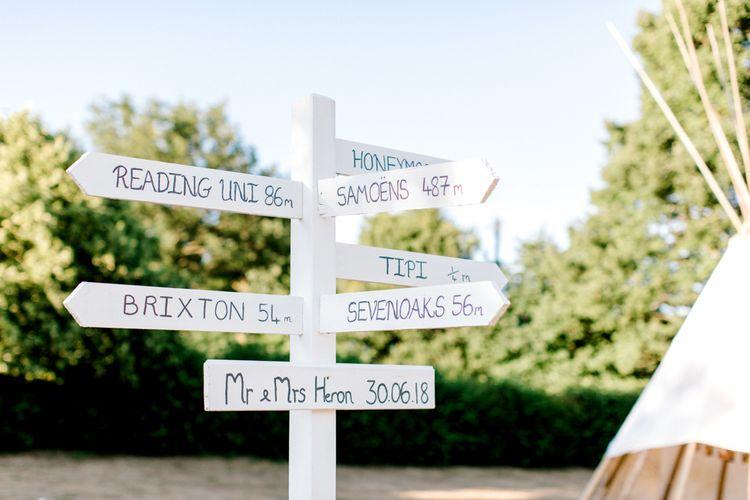 White Picket Fence Wedding Signpost