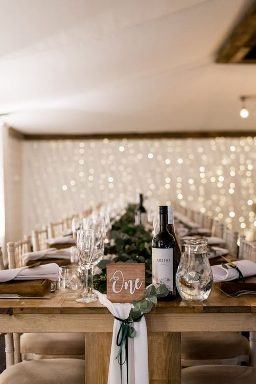 Wedding Reception Table Decor with Foliage Table Runner
