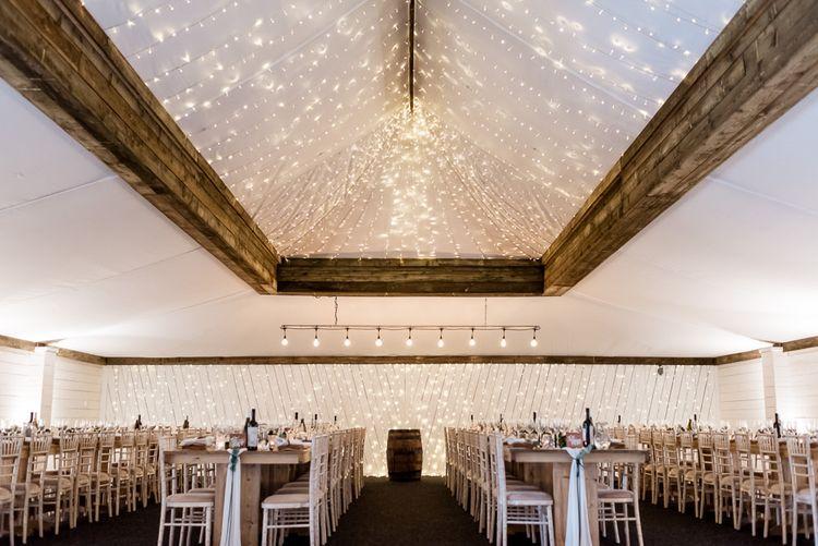 Wedding Reception Room with Fairy Light Roof Lantern Decor