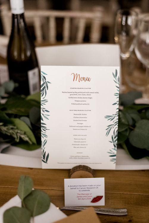 Menu Card with Foliage Illustration