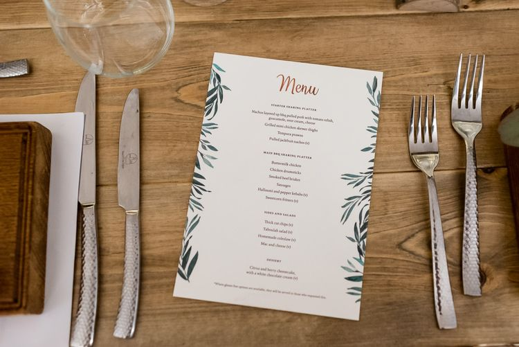 Place Setting with Botanical On The Day Wedding Stationery
