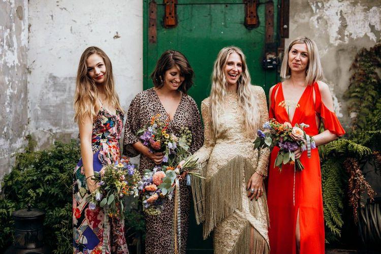 Mismatched Bridesmaid Dresses for Urban Wedding