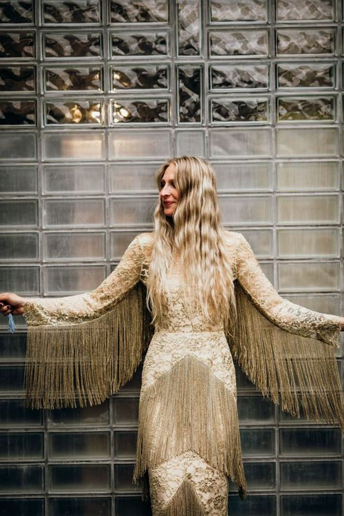 Bespoke Gold Wedding Dress with Lace and Fringe Detail by Fleetwood of London