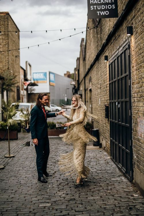 Fringe Detail Wedding Dress in Gold with Navy Suit