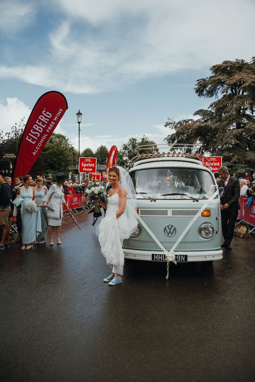Vintage VW Campervan For Wedding // Glastonbury Themed Table Plan For Wedding At Stone Barn Cotwolds With Groom In Cad & The Dandy Images Meghan Lorna