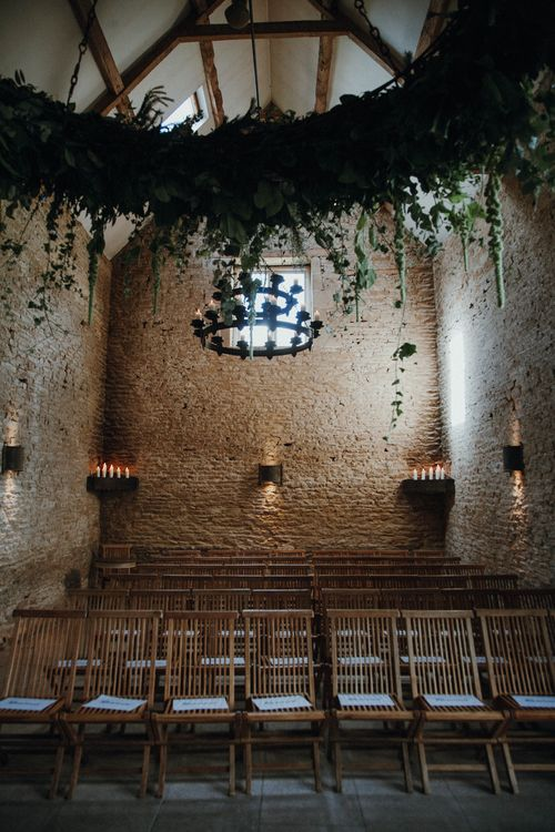Suspended Foliage For Barn Wedding // Glastonbury Themed Table Plan For Wedding At Stone Barn Cotwolds With Groom In Cad & The Dandy Images Meghan Lorna