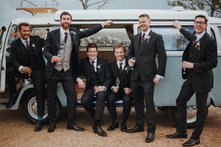 Groom & Groomsmen In Bespoke Cad & The Dandy Suit And Yardmens Hire Suits