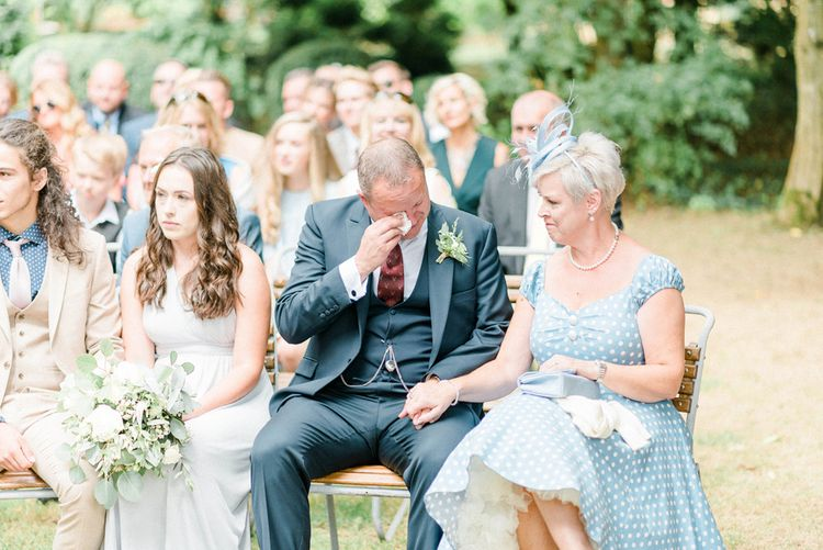 Emotional Father of The Bride During Outdoor Wedding Ceremony