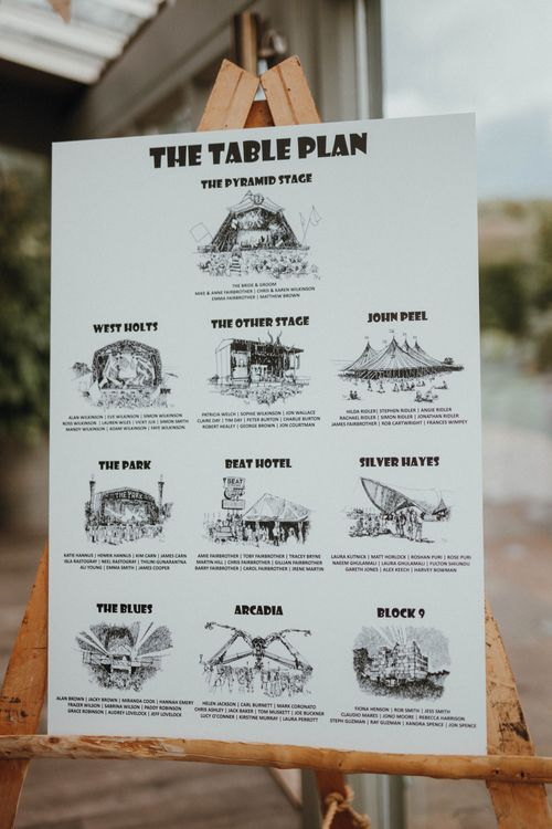Glastonbury Themed Table Plan For Wedding At Stone Barn Cotwolds With Groom In Cad & The Dandy Images Meghan Lorna