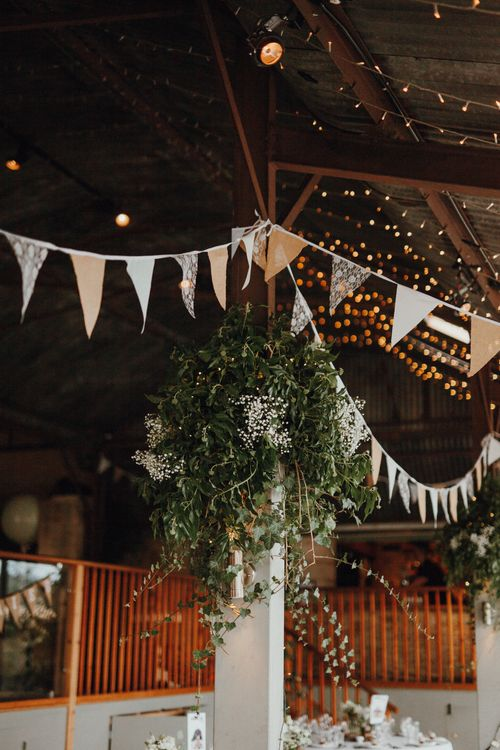 Bunting For Barn Wedding // Glastonbury Themed Table Plan For Wedding At Stone Barn Cotwolds With Groom In Cad & The Dandy Images Meghan Lorna