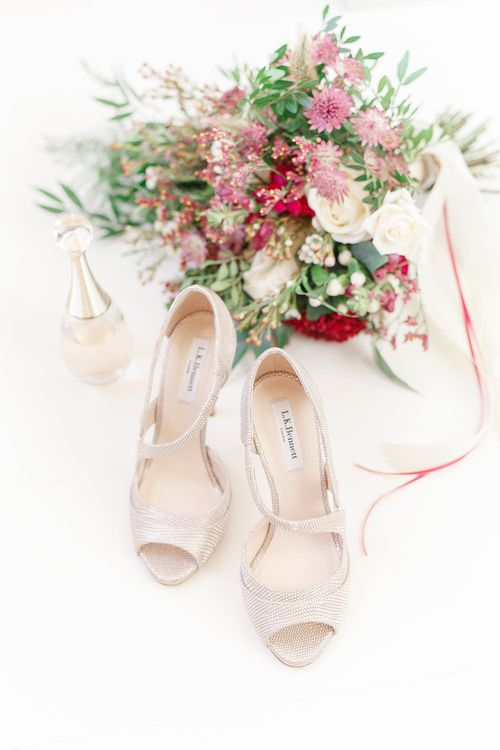 L.K. Bennett Bridal Shoes & Bridal Bouquet   Red New Years Eve Winter Wedding at Iscoyd Park, Shropshire   White Stag Wedding Photography   Lovetwofilm