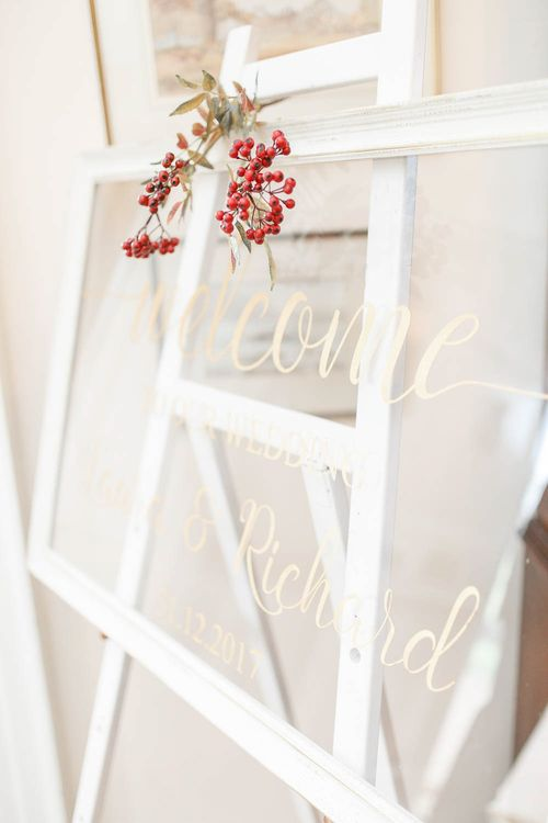 Glass Wedding Sign   Red New Years Eve Winter Wedding at Iscoyd Park, Shropshire   White Stag Wedding Photography   Lovetwofilm