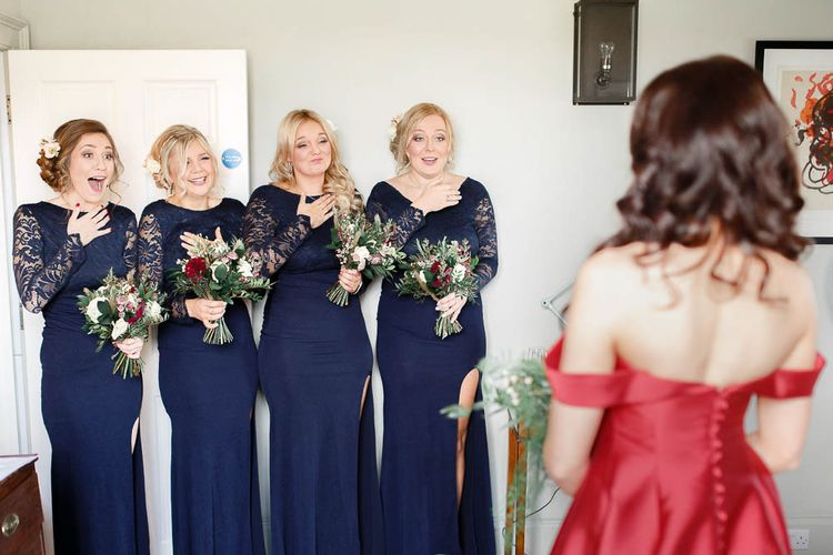 Bridal Party First Look   Bridesmaids in Navy Lace Dresses   Red New Years Eve Winter Wedding at Iscoyd Park, Shropshire   White Stag Wedding Photography   Lovetwofilm