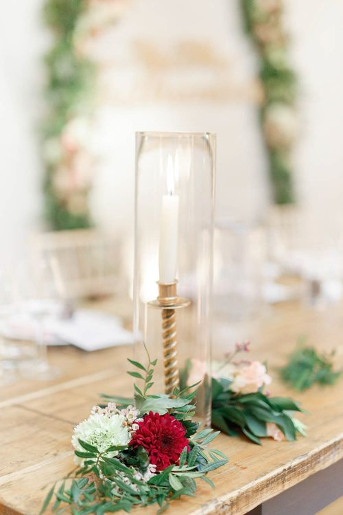 Candle Stick & Taper Candle   Wedding Reception Decor   Red New Years Eve Winter Wedding at Iscoyd Park, Shropshire   White Stag Wedding Photography   Lovetwofilm