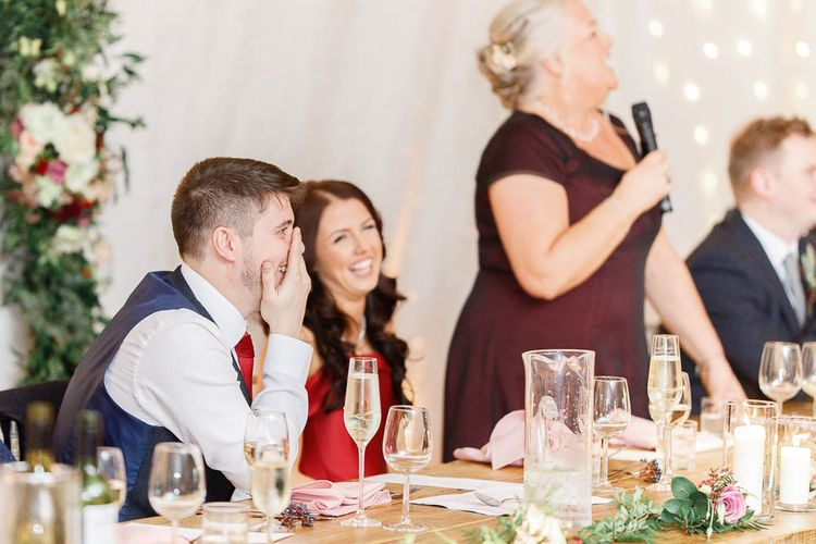 Wedding Reception Speeches   Bride in Bespoke Red Gown from agape Bridal Boutique   Groom in Slaters Suit   Red New Years Eve Winter Wedding at Iscoyd Park, Shropshire   White Stag Wedding Photography   Lovetwofilm