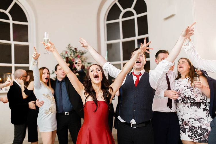 Evening Reception   Red New Years Eve Winter Wedding at Iscoyd Park, Shropshire   White Stag Wedding Photography   Lovetwofilm