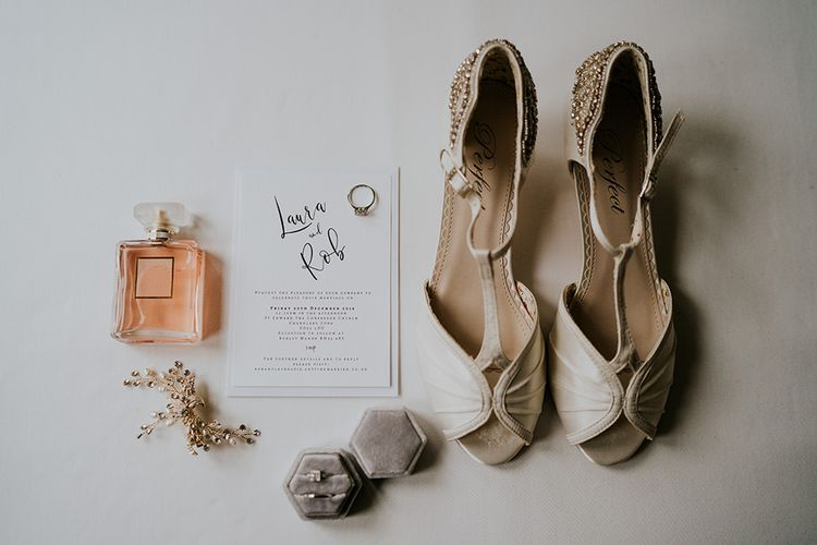Bride shoes and accessories at Burley Manor wedding