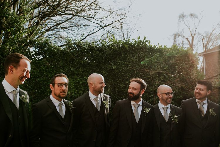 Groom with groomsmen at Burley Manor wedding