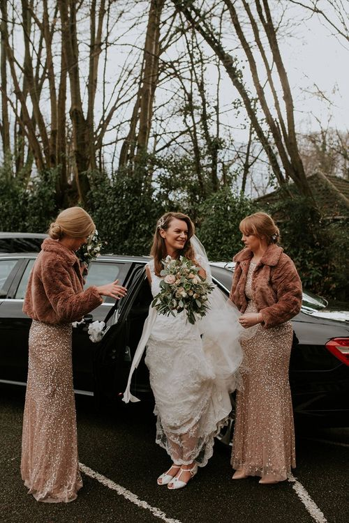 Bride with bridesmaids in cover-ups