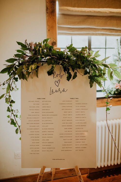 Monochrome wedding seating chart