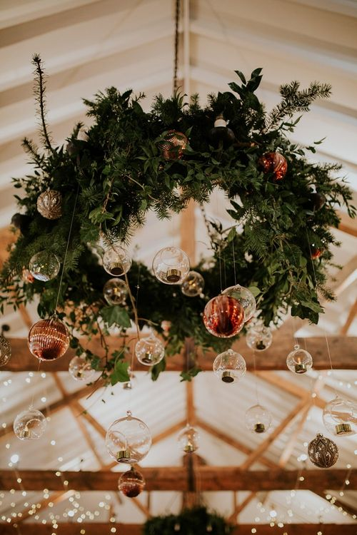 Foliage chandelier with baubles at Burley Manor