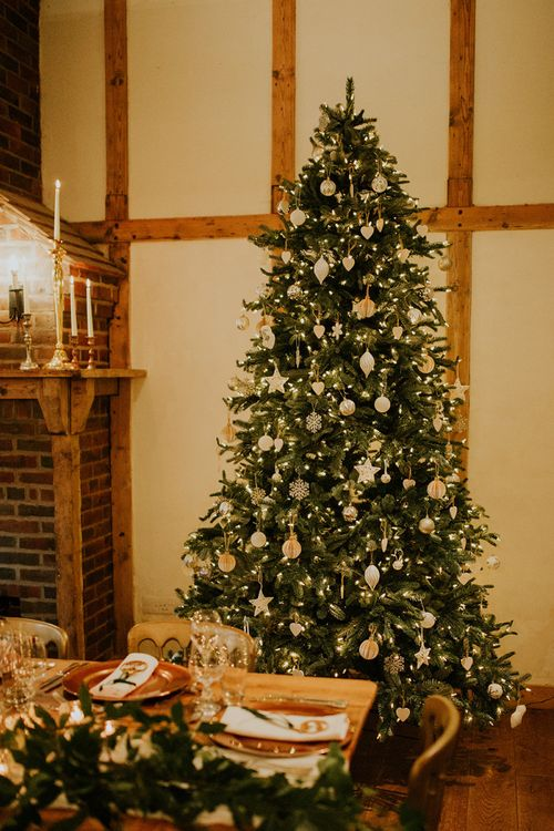 Christmas tree wedding decor at Burley Manor