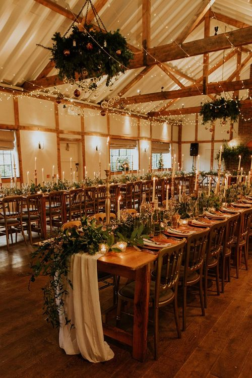 Wedding breakfast decor for winter wedding