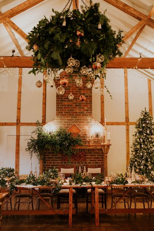Festive wedding decor at Burley Manor